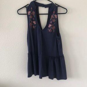 Navy floral embroidered American Eagle Tank top
